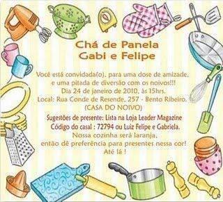 Convite Do Ch De Panela Modelos