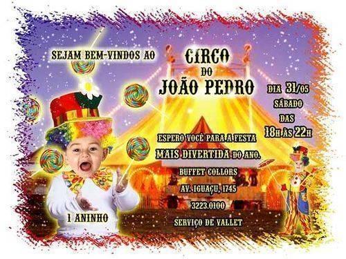 Convite De Aniversario Circo Convite   Opcao De Escrever