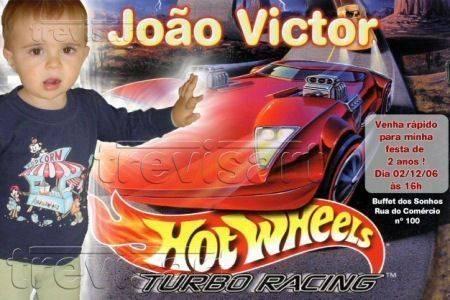 Convite para Aniversário do Hot Wheels