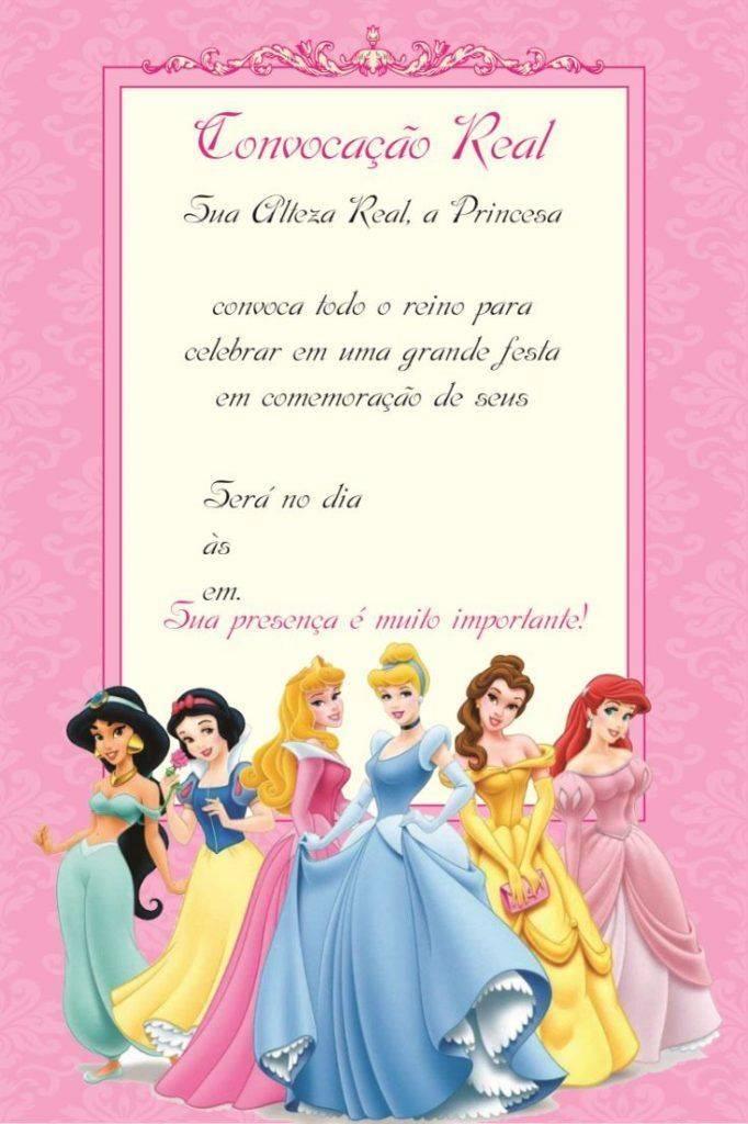 Convite Para Aniversario Das Princesas Disney Modelos De Convite