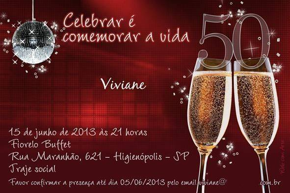 Convites para Aniversário de 50 anos – Modelos de Convite