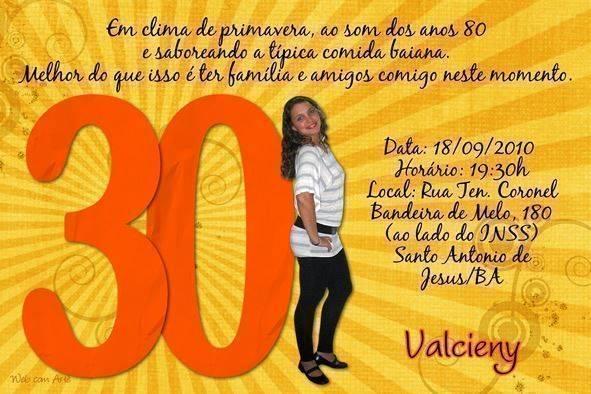 Convite De Aniversario 30 Anos 5 Modelos De Convite
