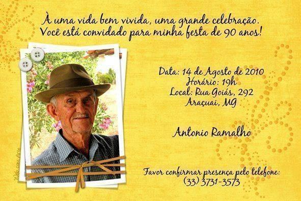 Convites de Aniversário de 90 anos