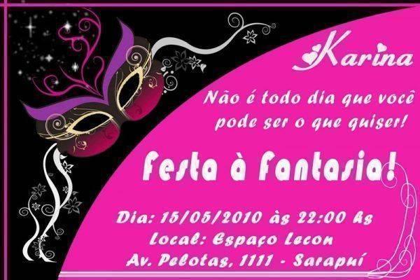 Convite de Baile a Fantasia