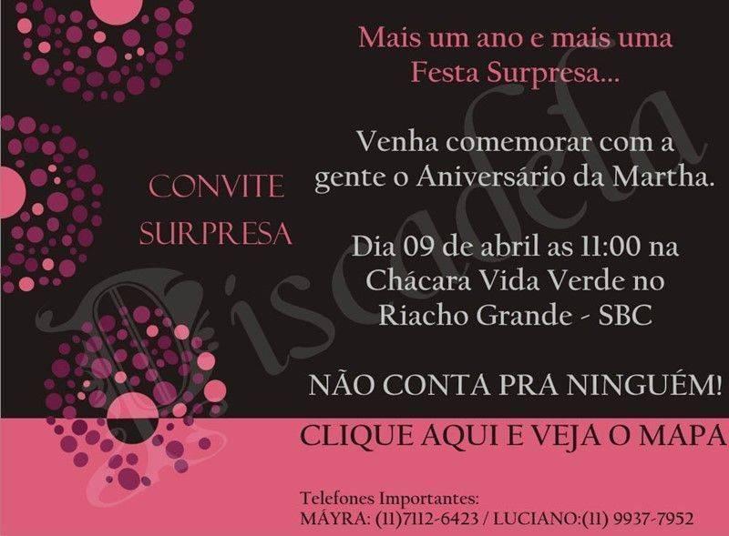 Aniversario Surpresa 9 Modelos De Convite