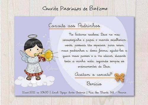 Convite Para Padrinhos De Batismo Batizado Modelos De