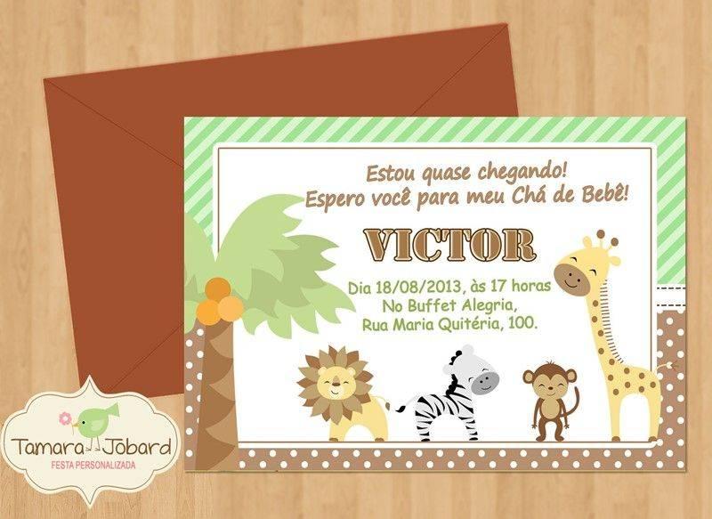 Tag Convite Cha De Bebe Editavel Safari