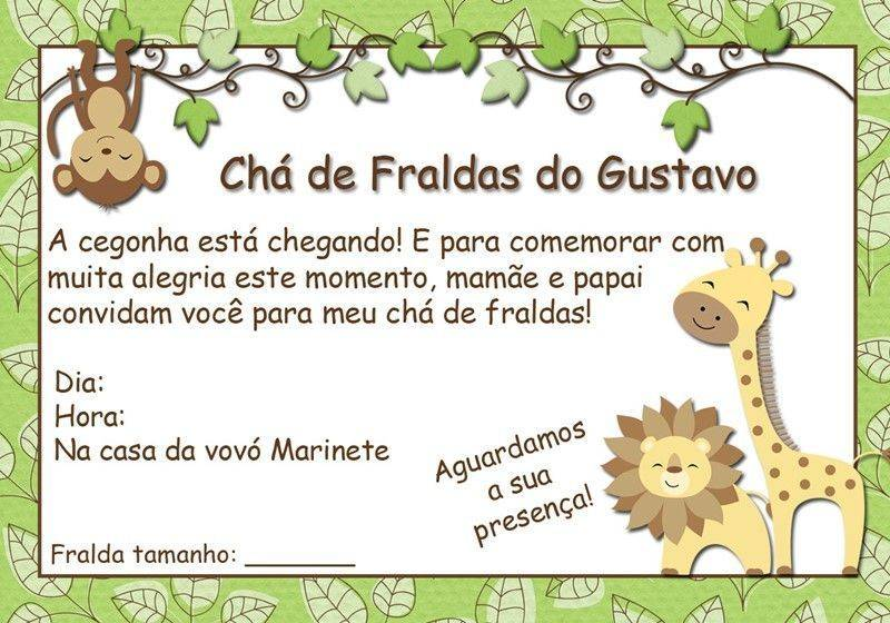 Convite Cha De Bebe Safari2 Modelos De Convite