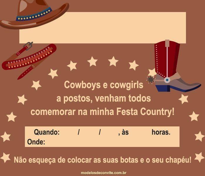 Convite Country 30 Modelos Para Festa Cowboy E Sertaneja