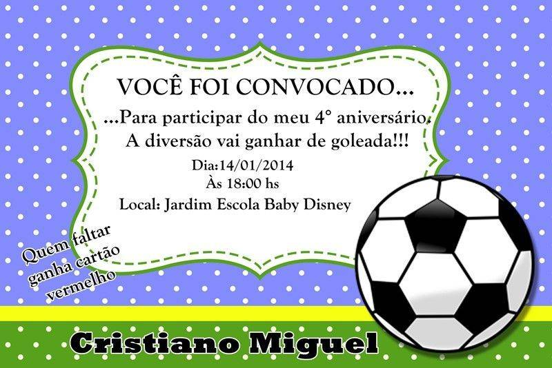Convite De Aniversário Tema Futebol Modelos De Convite