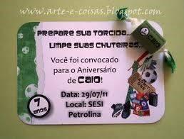 Convite de Aniversário tema Futebol