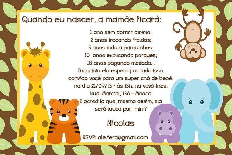 Convite Para Chá De Fraldas Tema Safari Modelos De Convite