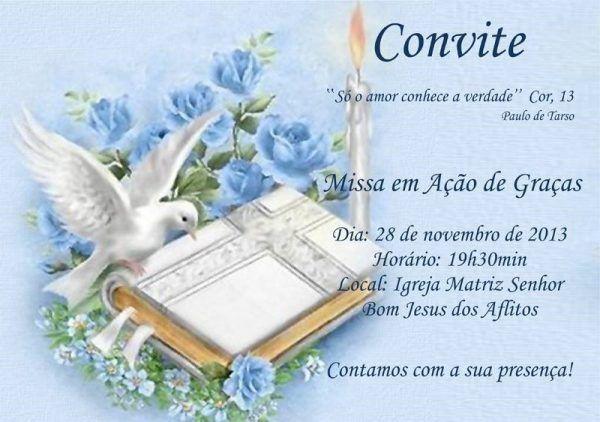 Convite para missa em ação de graças