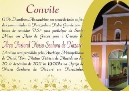 Convite missa ação graças 6