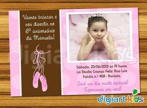 Convite De Aniversário Bailarina Modelos De Convite