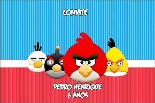Convite de aniversário Angry Birds 301