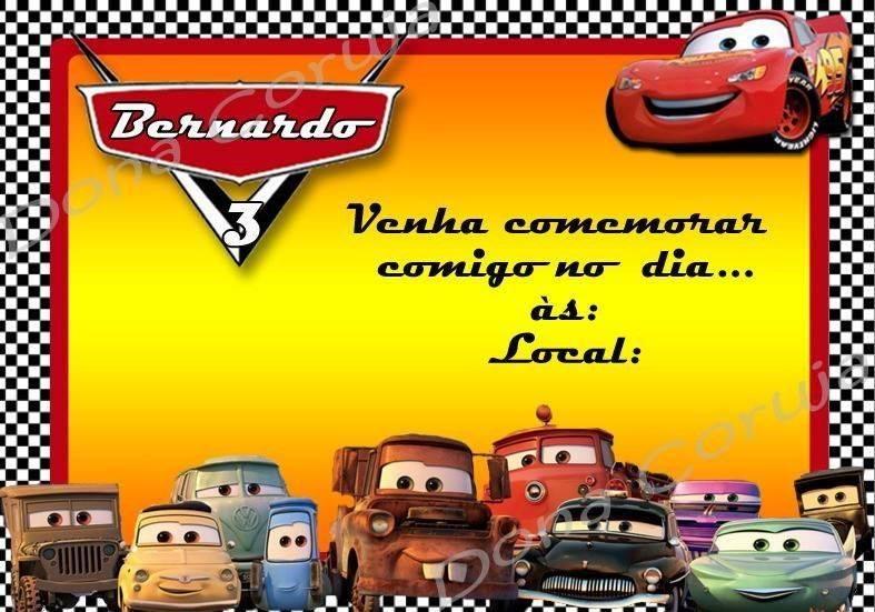 Convite De Aniversario Carros Modelos De Convite