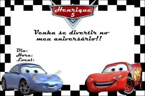 Convite De Aniversário Carros Modelos De Convite