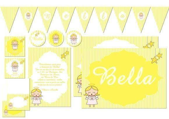 Convite de batizado amarelo