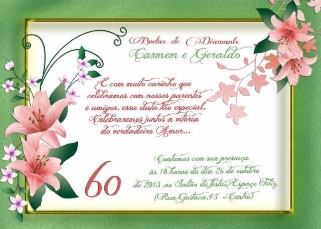 Convite De Bodas De Diamante Modelos De Convite