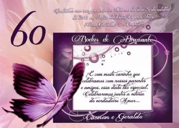 Convite de bodas de diamante