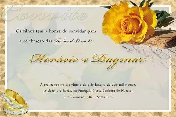 Convite De Bodas De Ouro Modelos De Convite