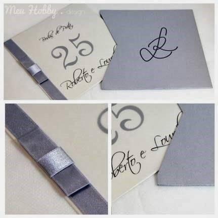 Convite de bodas de prata artesanal