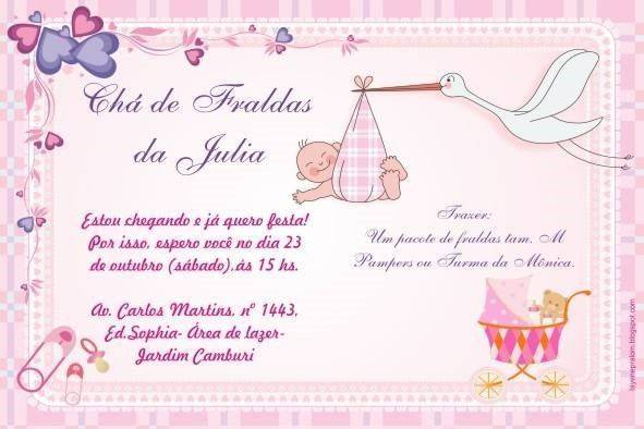 Mensagem De Convite De Cha De Fralda: Convite De Chá De Fralda Online