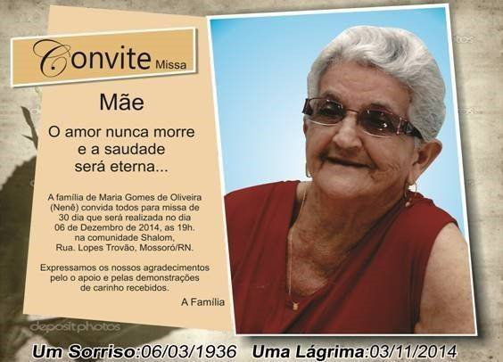 Convite De Missa De 30 Dias Modelos De Convite