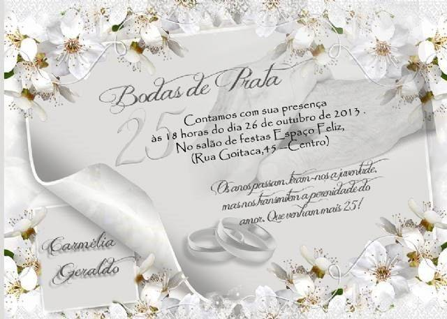 Convite De Bodas De Prata Artesanal Modelos De Convite