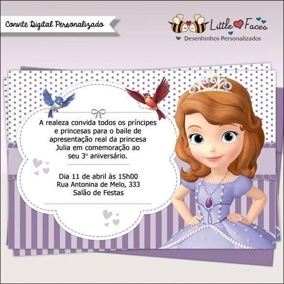 Convite Princesa Sofia Modelos De Convite