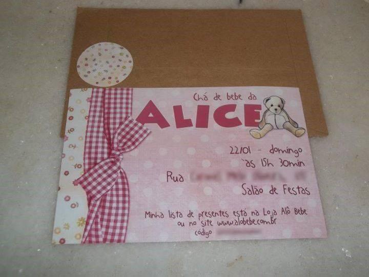 Convite De Chá De Bebê Alice Modelos De Convite