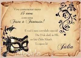 Convite De Aniversario A Fantasia Modelos De Convite