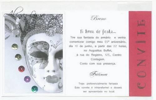 Convite De Aniversário à Fantasia Modelos De Convite