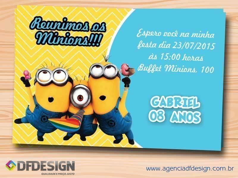 Convite De Aniversário Dos Minions Modelos De Convite
