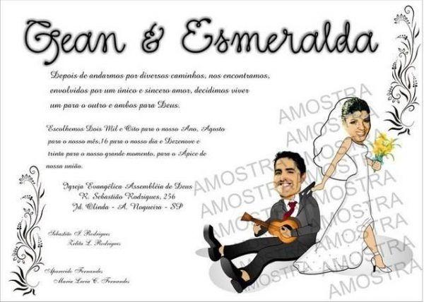 Convite de casamento com caricaturas 301