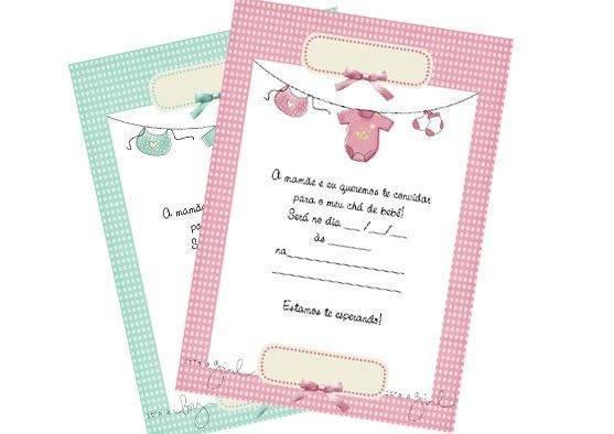 Convite de chá de bebê para montar