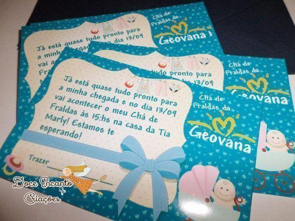 33 Convites Delicados para Chá de Fraldas