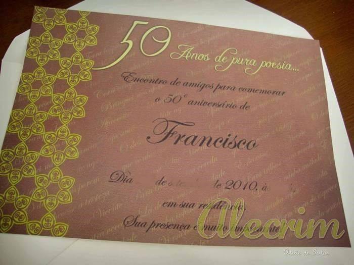 13 Convites Estilosos Para Aniversários De 50 Anos Modelos De Convite