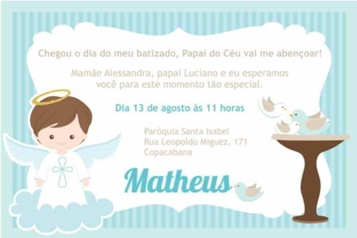30 Convites Delicados Para Batizado Modelos De Convite