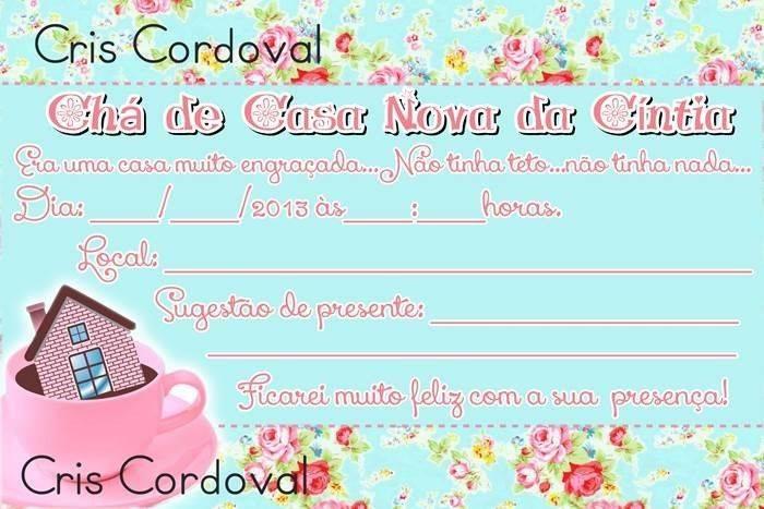 Convite De Chá De Casa Nova Modelos De Convite