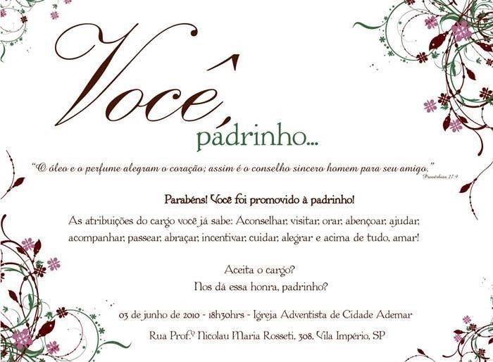 18 Convites Especiais Para Padrinhos Modelos De Convite