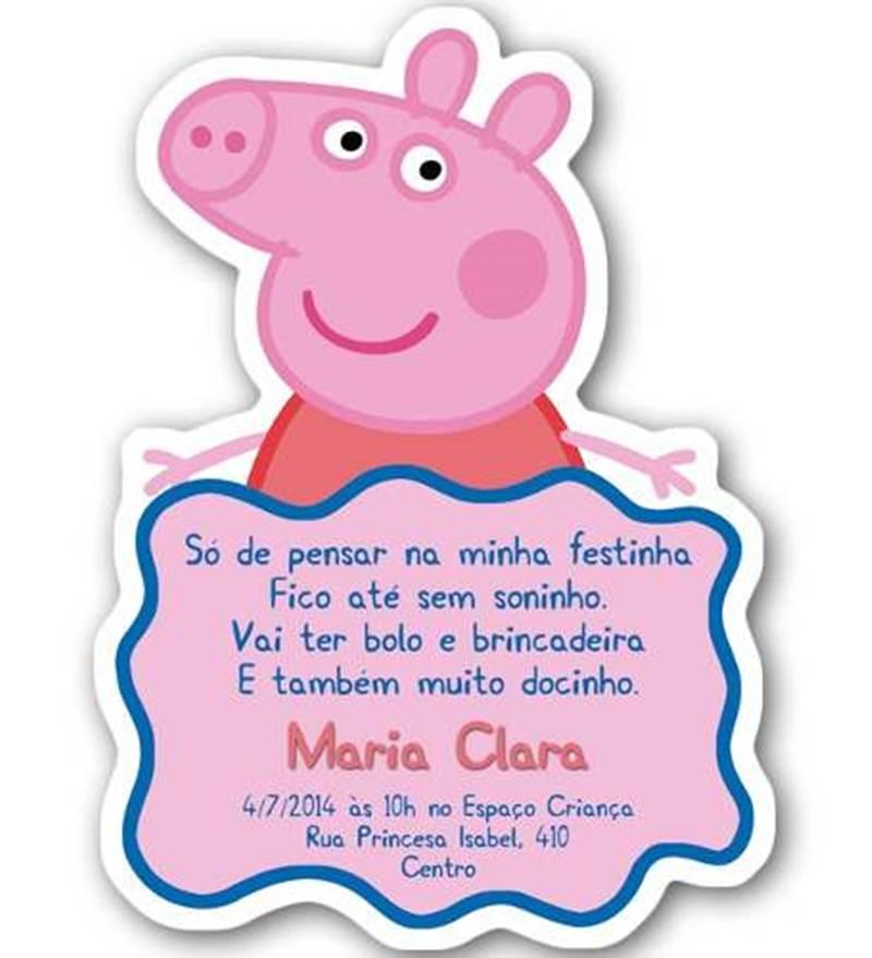 ... Convite Artesanal envelope vegetal - Peppa Pig reino das Fadas