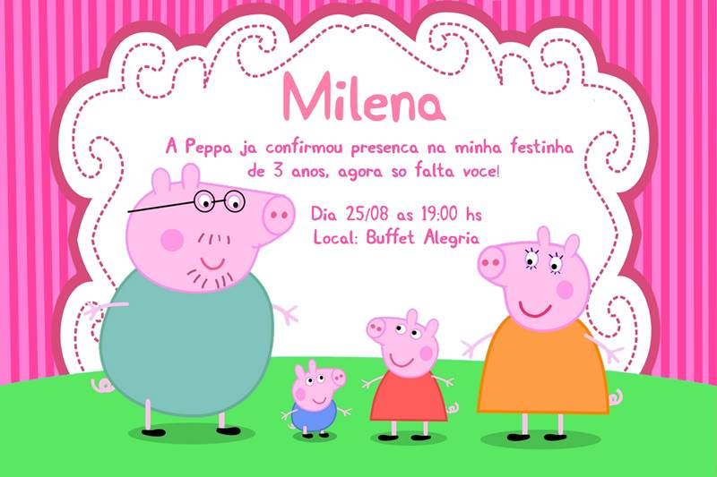 40 Convites Da Peppa Pig E George Modelos De Convite