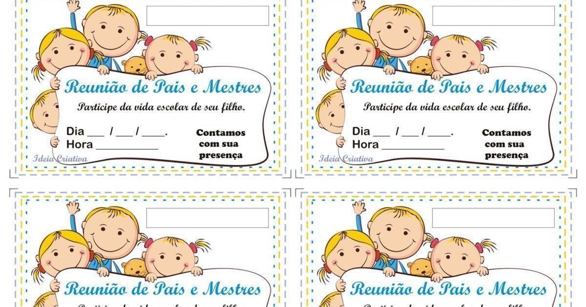 40 Convites Para Reunião De Pais Modelos De Convite