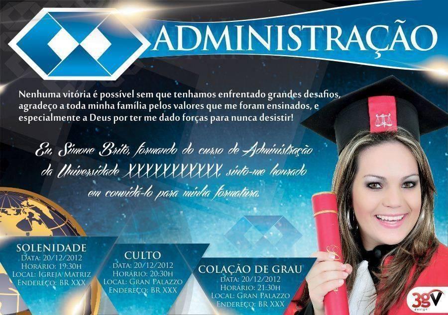 30 Convites Para Formatura Em Administração Modelos De Convite
