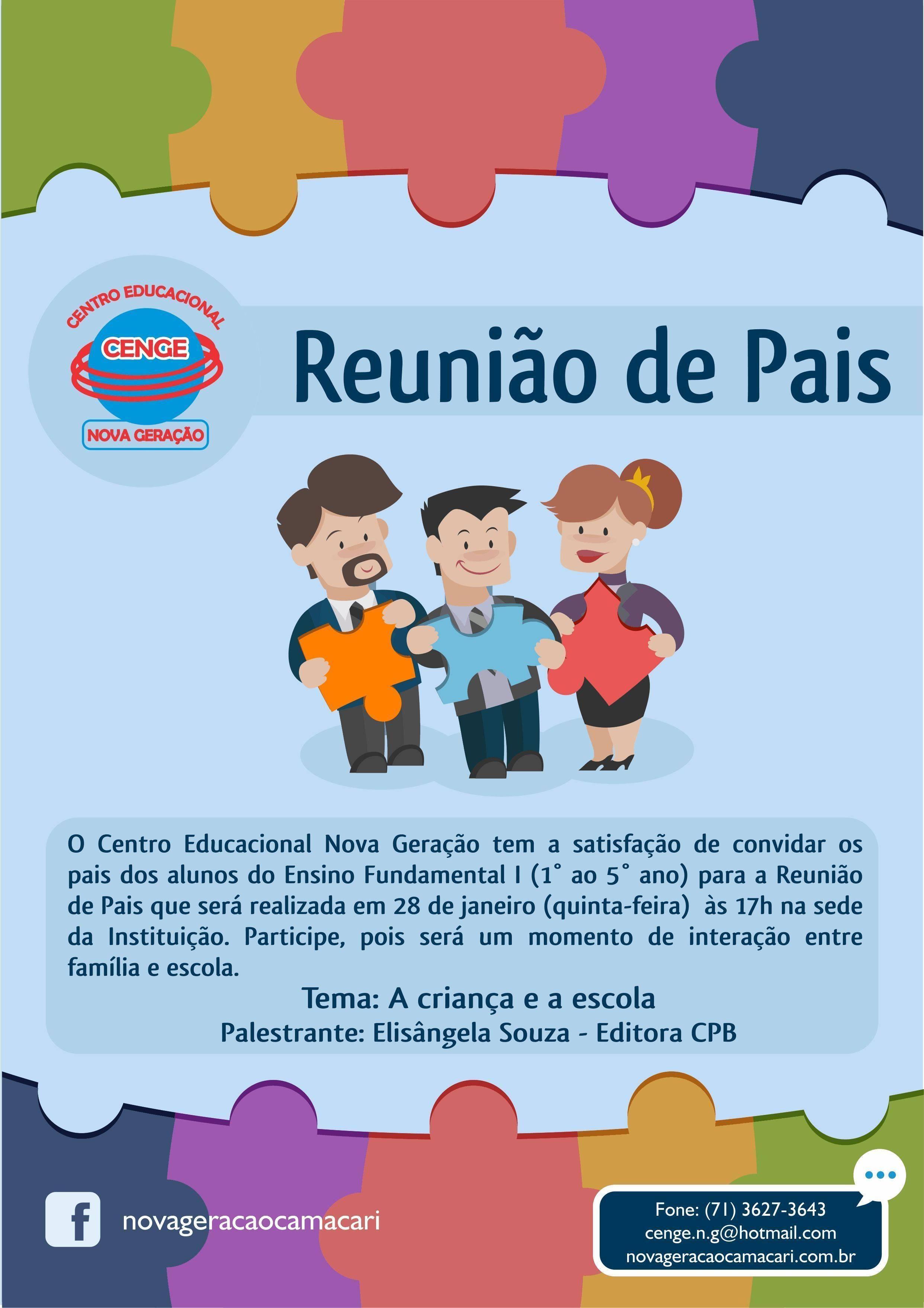 Muito 40 Convites Para Reunião de Pais – Modelos de Convite MJ36