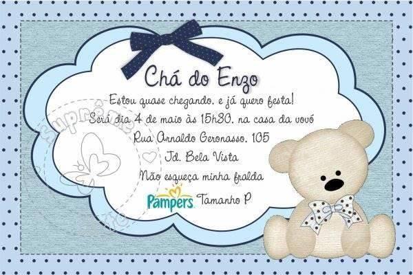 Convite para Chá de Bebê Virtual – Convite Chá de Fraldas