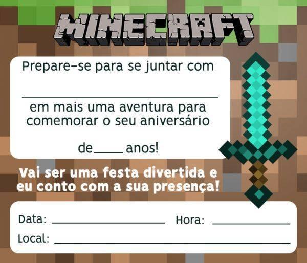 Convite Minecraft – 10 Modelos para Editar