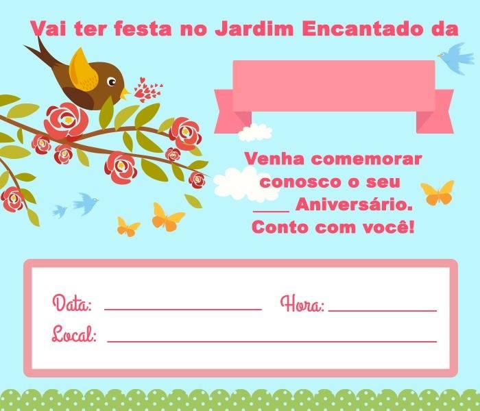 Convite Jardim Encantado 15 Modelos Modelos De Convite
